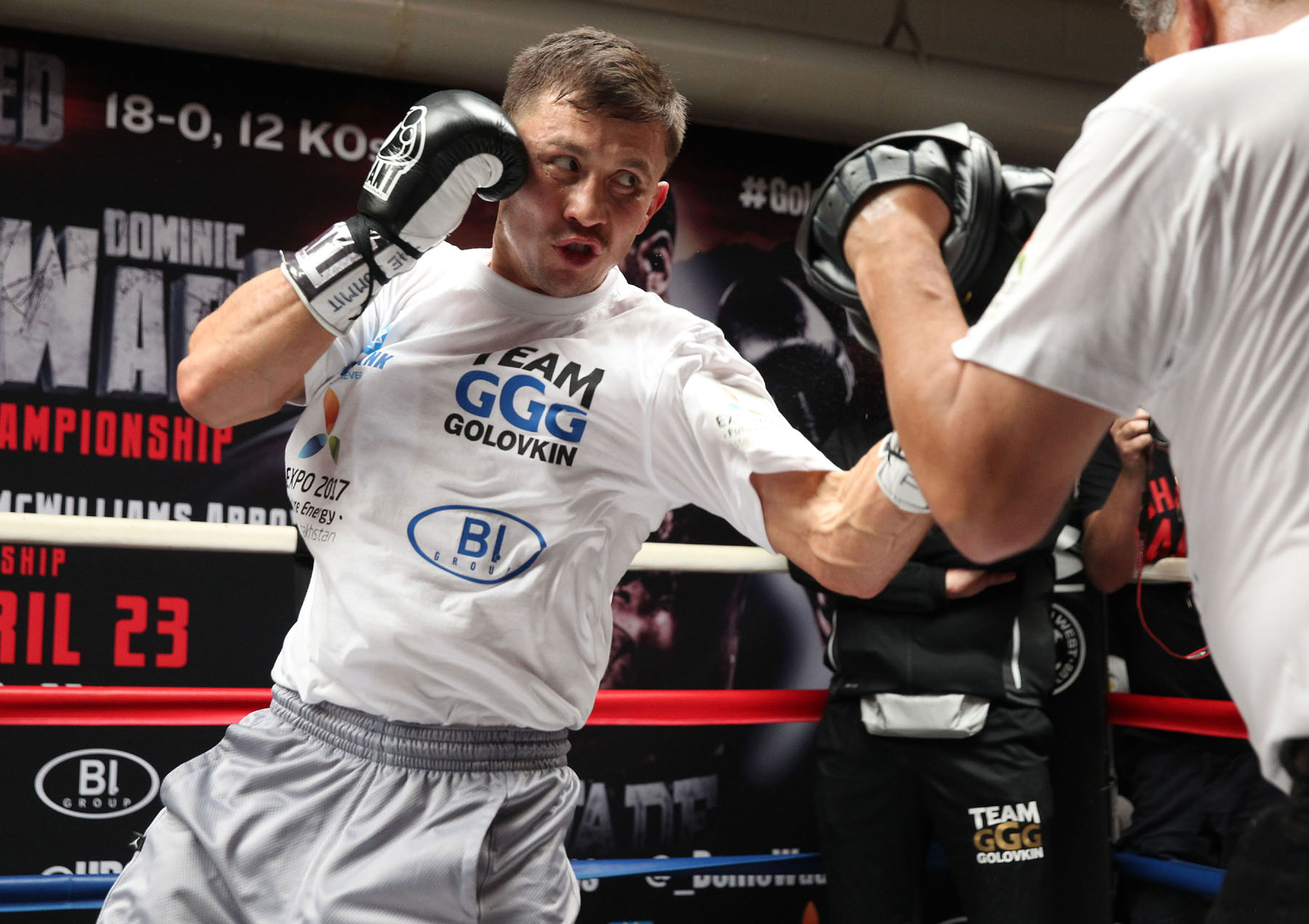 """---   Photo Credit : Chris Farina -  K2 Promotions  April 20, 2016 , Santa Monica,Ca. ---  Boxing Superstar and Unified World Middleweight Champion Gennady """"GGG"""" Golovkin, 34-0 (31KO's) works out during media day Wednesday at the Wild Card West in Santa Monica, California.  Boxing Superstar and Undefeated, Unified World Middleweight Champion Gennady, """"GGG"""" Golovkin, 34-0 (31KO's) will defend his titles (WBA, IBF, IBO and WBC """"Interim') against Undefeated Mandatory Challenger Dominic Wade, 18-0 (12KO's) on Saturday, April 23 at the Fabulous Forum in the main event at UNDEFEATED.  Co-featured will be Consensus #1 Pound-For-Pound Fighter and WBC Flyweight World Champion Roman """"Chocolatito"""" Gonzalez, 44-0 (38KO's) battling World Ranked Contender McWilliams Arroyo, 16-2 (14KO's) of Puerto Rico.  Both bouts will be televised Live on HBO World Championship Boxing® beginning at 10:00 p.m. ET/7:00 p.m. PT. Tickets for UNDEFEATED, priced at $400, $300, $200, $100, $60 and $30, are now on sale through Ticketmaster (Ticketmaster.com, 1-800-745-3000) and the Forum Box Office.  Golovkin vs. Wade is promoted by K2 Promotions, GGG Promotions and in association with TGB Promotions. Gonzalez vs. McWilliams is presented by K2 Promotions in association with Teiken Promotions and PR Best Boxing Promotions."""