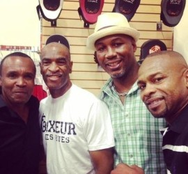 Trainer DeWith Frazer (second from left) is hoping his network, which includes stars such as (from left) Sugar Ray Leonard, Lennox Lewis and Roy Jones, will launch his son Ryan's forte in promoting to a high level.