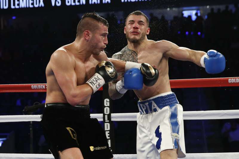 David Lemieux vs Glen Tapia  (Round 4) Vacant NABO Middleweight Title Referee: Russell Mora photo credit: WILL HART