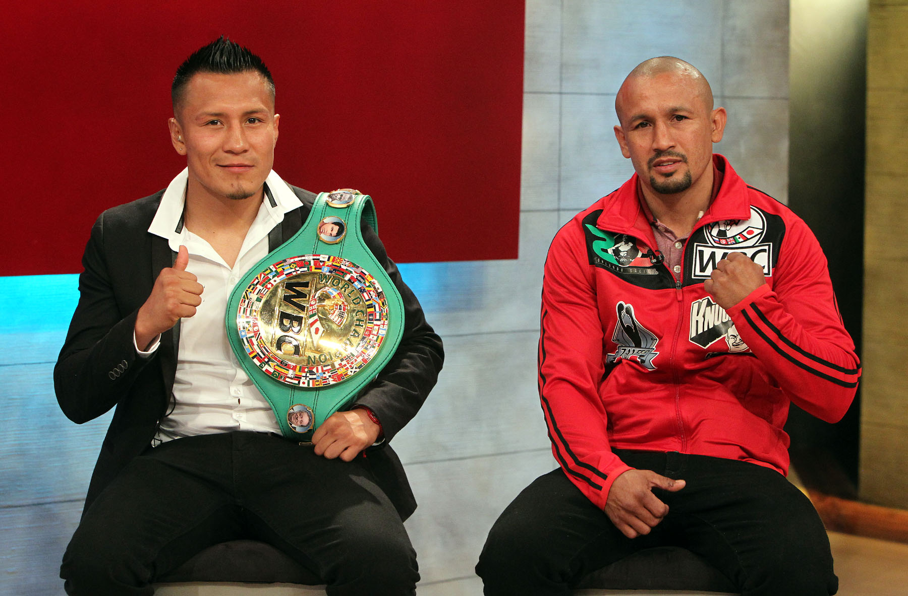 March 31, 2016, Los Angeles , Ca.  ---  Former 3-time world champion Orlando Salido (R) and WBC Super Featherweight world champion Francisco Vargas(L) at the ESPN studios to talk about their upcoming HBO 12-round title fight, Saturday, June 4, at the StubHub Center in Carson Ca.  --- Photo Credit : Chris Farina - Team Salido  -  copyright 2016