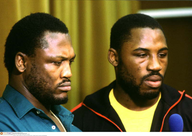 Boxing - Press Conference - 29/11/84 Former boxer Joe Frazier with his son Marvis Frazier Mandatory Credit: Action Images / Sporting Pictures / Joe Mann CONTRACT CLIENTS PLEASE NOTE: ADDITIONAL FEES MAY APPLY - PLEASE CONTACT YOUR ACCOUNT MANAGER