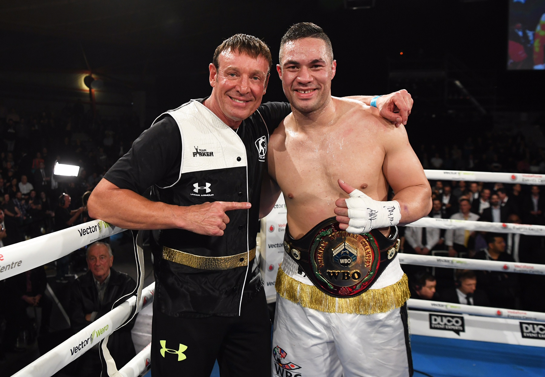 New Zealand heavyweight boxer Joseph Parker with trainer Kevin Barry after defeating Russia's Alexander Dimitrenko. Burger King Road to the Title by Duco Boxing. Auckland, New Zealand. Saturday 1 October 2016. © Copyright Photo: Andrew Cornaga / www.photosport.nz