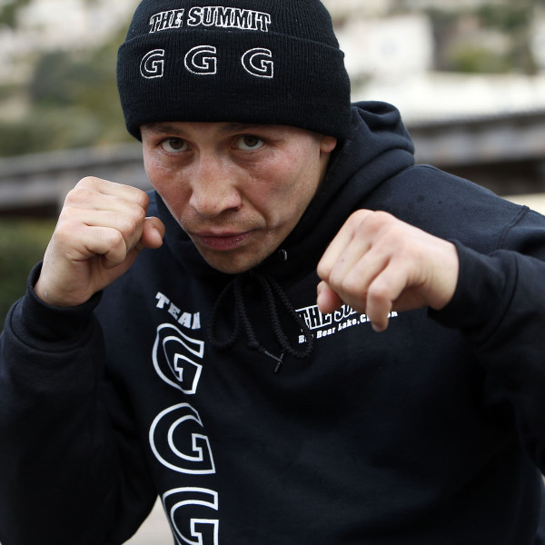 Gennady Golovkin (GGG) road work in Monaco for upcoming Martin Murray fight on 02-21-2015 on a cold dreary early morning Monte Carlo, Monaco pictured: GGG shadow box along The Monaco Coastline on The Mediterian Sea Photo Credit: Will Hart