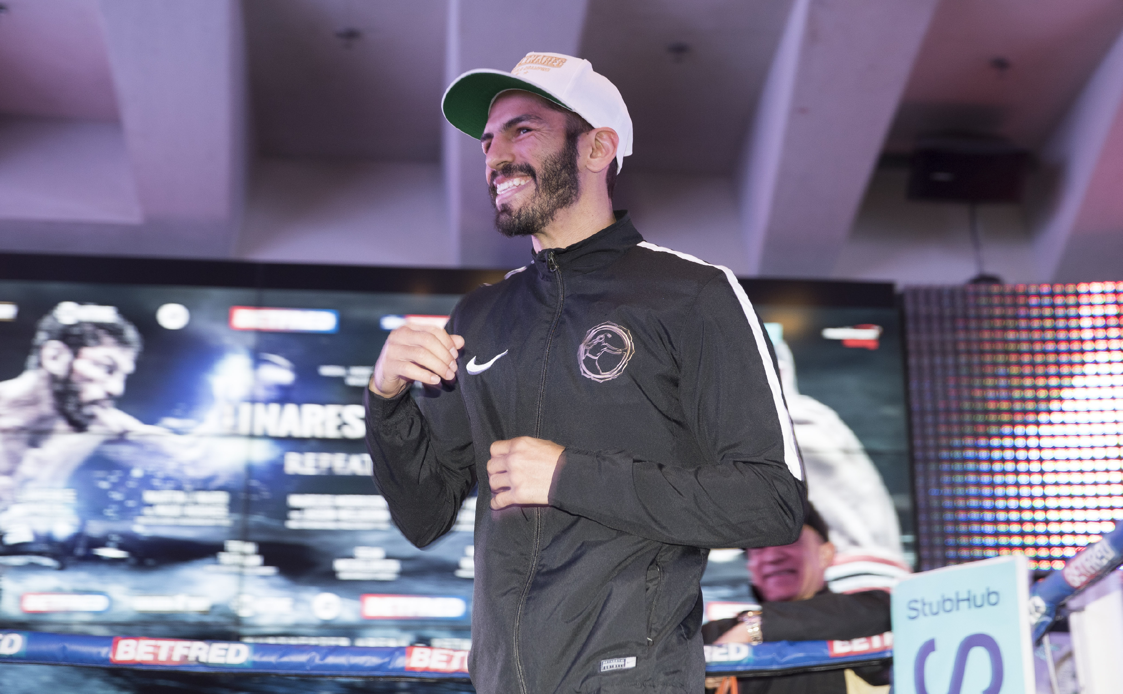 Jorge Linares Holds a public Open workout at the National Football museum Manchester. Linares is preparing for his fight against Anthony Crolla in a World Lightweight unification rematch on saturday night Live on Sky Sports. 25th March 2017 Picture By Mark Robinson.