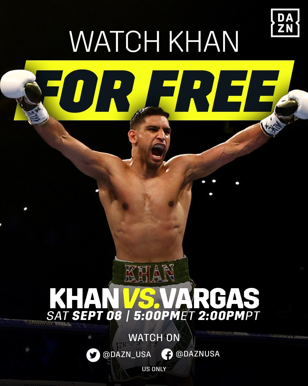 DAZN To Stream Amir Khan Vs Samuel Vargas On Facebook And